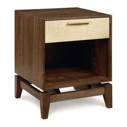 Two-Tone Cassidy Nightstand - Gorgeous contrast makes this tall nightstand a spirited choice for your dream bedroom. A single drawer seems to float weightlessly over the open frame, making it a solid choice next to a platform bed. The deep walnut-toned legs and sides are offset by the creamy maple drawer front, giving it a modern beachfront feel.