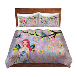 DiaNoche Designs - Duvet Cover Microfiber by Sascalia - Butterfly Fairy - Super lightweight and extremely soft Premium Microfiber Duvet Cover in sizes Twin, Queen, King.  This duvet is designed to wash upon arrival for maximum softness.   Each duvet starts by looming the fabric and cutting to the size ordered.  The Image is printed and your Duvet Cover is meticulously sewn together with ties in each corner and a hidden zip closure.  All in the USA!!  Poly top with a Cotton Poly underside.  Dye Sublimation printing permanently adheres the ink to the material for long life and durability. Printed top, cream colored bottom, Machine Washable, Product may vary slightly from image.