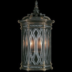 Fine Art Lamps - Warwickshire Two-Light Outdoor Wall Sconce in Wrought Iron Patina Finish - Coupe of individually beveled, leaded glass panels set in a dramatic dark wrought iron patina.  - Fine Art Lamps is world-renowned for original, elegant lighting designs favored by discerning designers, architects, consumers, and luxury homebuilders. Exquisite finishes are the company's hallmark, and many finishes take countless steps to achieve the desired effect. Each finish is handcrafted making it a one-of-a-kind work of art. Fine Art Lamps - 611881ST