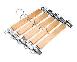 J.S. Hanger - J.S. Hanger® Natural Wood Skirt Hangers, Wooden Pants Hangers, 5-Pack - Feature: