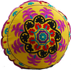 Yellow Swirl Round Floor Pillow - Cheer up your space with this bright and colorful hand embroidered floor pillow. Hot magenta pops against the bright yellow base, while black, red and teal accents complete the electric kaleidoscope. When you're not in the middle of a living room picnic or board game it looks beautiful on the sofa, or piled with its friends in a corner.