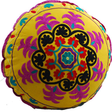 Modelli Creations - Yellow Swirl Round Floor Pillow - Cheer up your space with this bright and colorful hand embroidered floor pillow. Hot magenta pops against the bright yellow base, while black, red and teal accents complete the electric kaleidoscope. When you're not in the middle of a living room picnic or board game it looks beautiful on the sofa, or piled with its friends in a corner.