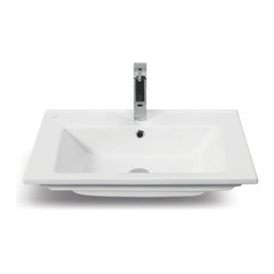 CeraStyle - 26 Inch Ceramic Self Rimming Sink - This 26 inch rectangular bathroom sink is made of high quality white ceramic and is ADA Compliant. This self rimming sink includes a single overflow and faucet hole. Designed and manufactured by luxury Turkish brand CeraStyle.