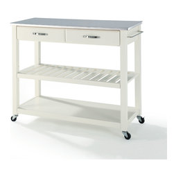 Crosley - Stainless Steel Top Kitchen Cart/Island With Optional Stool Storage - Dimensions:   18 x 42 x 36 inches