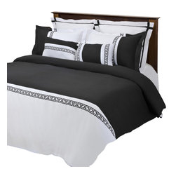 """Emma 7 Piece Duvet Cover Set - King/California King - White/Black - The Emma Duvet Cover Set is a great addition to any bedroom. Featuring an embroidered Greek key design and wrinkle resistant microfiber fabric this duvet adds a bold new look to any bedroom. Each Set includes one Duvet cover 106x92"""", two Pillow Shams 20x36"""", two Euro Shams 26x26"""", and two Breakfast Pillows 12x18""""."""