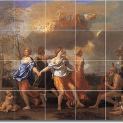 Picture-Tiles, LLC - Dance To The Music Tile Mural By Nicholas Poussin - * MURAL SIZE: 48x60 inch tile mural using (20) 12x12 ceramic tiles-satin finish.