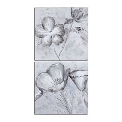 Uttermost - Uttermost Florals in Black And White Art Set of 2 - 34261 - Each piece is hand painted by accomplished artisans and may vary slightly in finish.