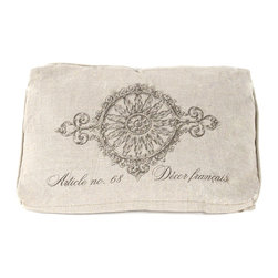 "Kathy Kuo Home - French Country ""Article No 68"" Rectangle Box Pillow - This soft yet substantial linen box pillow will support you while bringing a regal elegance to your living space. The French carving-inspired print creates a beautiful contrast for a vintage leather couch, or will fit perfectly within rustic country cottage decor."