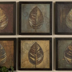 "Uttermost - ""New Leaf Panel I & II"" Wall Art - 6-Pc Set - Designer: Grace Feyock. Artist: Pinto. Each print is 14 x 14. 13 in. W x 2 in. D x 13 in. HThese oil reproductions feature a hand applied brushstroke finish. Frames have a medium brown undertone with heavy black distressing."