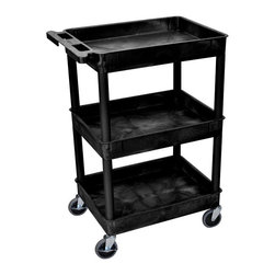 Luxor - Luxor 3 Shelf Heavy Duty Tub Cart - STC111-B - Shop for Service Carts from Hayneedle.com! Easily transport your supplies without worrying about them falling off of the Luxor 3 Shelf Heavy Duty Tub Cart. This cart has three tub shelves that are 2.75 inches deep to keep items securely on the cart. Each shelf has 12-inch clearance and the top shelf has been reinforced with an aluminum bar for strength and stability. The entire cart has a 300-lb. weight capacity and is made of high-density plastic. A useful push handle is molded into the top shelf. Four-inch casters keep your cart rolling smoothly; two of the wheels have locking brakes for your convenience and safety. You can jazz up the black tubs of this cart by choosing colorful legs. Select from green purple blue red yellow orange and basic black. About LuxorLocated in northern Illinois Luxor designs distributes and markets an extensive line of quality specialty furniture for offices schools libraries health care and automotive facilities. These high-quality cost-effective products improve workplace efficiency performance and productivity. Luxor's diverse product line includes mobile equipment tables computer workstations television mounting systems book trucks and more to keep your supplies organized and mobile. Each product is crafted from durable materials and is backed by a generous lifetime guarantee. Luxor is continually assessing the ever-changing needs of the workplace and developing new innovative products to address these needs. Use these versatile products for a variety of applications to improve the comfort of your work environment.