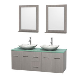 Wyndham Collection - 60 in. Double Bathroom Vanity in Gray Oak, Green Glass Countertop, Arista White - Simplicity and elegance combine in the perfect lines of the Centra vanity by the Wyndham Collection . If cutting-edge contemporary design is your style then the Centra vanity is for you - modern, chic and built to last a lifetime. Available with green glass, pure white man-made stone, ivory marble or white carrera marble counters, with stunning vessel or undermount sink(s) and matching mirror(s). Featuring soft close door hinges, drawer glides, and meticulously finished with brushed chrome hardware. The attention to detail on this beautiful vanity is second to none.