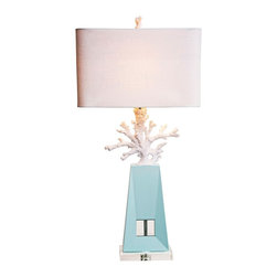 "Couture - Contemporary Couture Solana White Coral Pale Blue Table Lamp - Chalk white finish faux coral high gloss pale blue lacquer wood and a clear acrylic base combine softly in this delightful contemporary coastal table lamp. A white linen rectangular shade with rounded corners completes the look. Update your home lighting decor with this beautiful and stylish design. Transitional coastal table lamp. Chalk white and high-gloss pale blue finish. Resin acacia wood and optic crystal construction. White linen rectangular hardback shade with rounded corners. K9 clear optic crystal base and accent. Takes one maximum 75 watt or equivalent bulb (not included). Rotary switch. 36"" high. Shade is 18"" wide and 10"" deep across the top and bottom and 11"" high. Base is 8"" wide and 5"" deep.    Transitional coastal table lamp.  Chalk white and high-gloss pale blue finish.  Resin acacia wood and optic crystal construction.  White linen rectangular hardback shade with rounded corners.  K9 clear optic crystal base and accent.  Takes one maximum 75 watt or equivalent bulb (not included).  Rotary switch.  36"" high.  Shade is 18"" wide and 10"" deep across the top and bottom and 11"" high.  Base is 8"" wide and 5"" deep."
