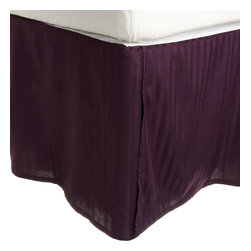 300 Thread Count Egyptian Cotton King Plum Stripe Bed Skirt - 300 Thread Count Egyptian Cotton King Stripe Plum Bed-Skirt