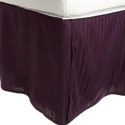300 Thread Count Egyptian Cotton King Plum Stripe Bed Skirt - 300 Thread Count Egyptian Cotton King Stripe Plum Bed-Skirt