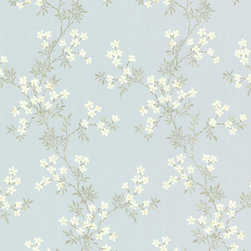 Brewster Home Fashions - Altha Blue Jasmine Trail Wallpaper. - Invite the beauty of Summer into your home with this dainty and delicate floral trail wallpaper. Bountiful jasmine florals escape from olive colored branches to bring a refreshing botanical scene to your home.