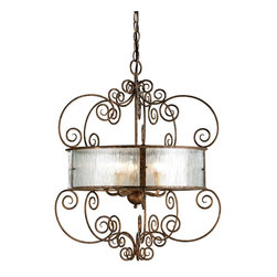 "Currey & Company - Currey & Company Wizard Chandelier CC-9655 - This chandelier has a light and airy iron scrollwork which is accented by the ""Black Forest"" bent glass panels."