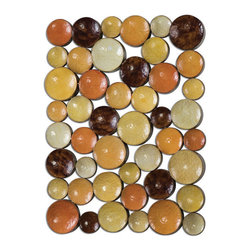 Uttermost - Amadeo Disk Wall Art - Wall art featuring various sizes of round concave disk welded together and finished in hues of burnt orange, antiqued pale blue, rustic bronze and aged yellows. May be hung horizontal or vertical.