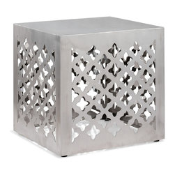 """Zuo Modern - Kailua Stool by BSEID - Marvelously infused with Moroccan appeal. The stainless steel cube table works well with a wide array of decor styles. Its compact proportions make this an ideal choice for smaller spaces. (ZM) 16.7"""" square x 17.3"""" high"""