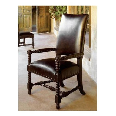 Tommy Bahama Home - Edwards Arm Chair - True Leather welt. Leather seat with nail head trim. Hand-rubbed antique brown finish. Nail head decorative trims. Made from mahogany solids, American maple and mahogany veneers and hand-tooled leather. Tamarind - black, highly distressed finish. 25.25 in. L x 27.5 in. W x 44.5 in. H (45 lbs.). Special Care Instructions from Lexington FurnitureKingstown is a relaxed traditional collection inspired by British Colonial style, with a hint of Campaign and a touch of safari. The Tamarind finish is a rich aged black with rub-through to crimson and gold undertones beneath. The evocative designs provide a sense of a well-traveled life.of items hand selected during journeys around the globe. Each piece is crafted as a one-of-a-kind find yet the eclectic collection coordinates beautifully. Travel the world without ever leaving home.