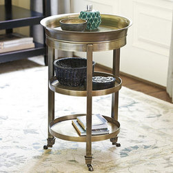 Ballard Designs - Addison Tray Table - Crafted of aluminum & brass. Fully assembled. Keep our Addison Tray Table tucked beside a favorite chair until guests arrive and then pull it out for the party. Lift off the fitted tray top for serving and the base takes on a whole new attitude. Casters make it easy to position. Addison Tray Table features:  . .