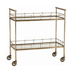 Arteriors Home - Arteriors Home Lisbon Vintage Brass/Glass Bar Cart - Arteriors Home 6525 - You can create an instant party when you take this elegant, vintage glass bar cart for a spin. Load it up with glasses, ice, mixers and drinks as well as appetizers and finger food. You'll bring the party to your guests. Chin, chin!