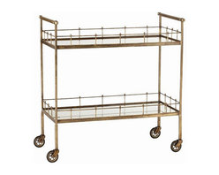 Arteriors Home - Arteriors Home Lisbon Vintage Brass and Glass Bar Cart - You can create an instant party when you take this elegant, vintage glass bar cart for a spin. Load it up with glasses, ice, mixers and drinks as well as appetizers and finger food. You'll bring the party to your guests. Chin, chin!
