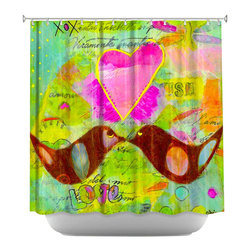 DiaNoche Designs - Shower Curtain Artistic - Love Birds - DiaNoche Designs works with artists from around the world to bring unique, artistic products to decorate all aspects of your home.  Our designer Shower Curtains will be the talk of every guest to visit your bathroom!  Our Shower Curtains have Sewn reinforced holes for curtain rings, Shower Curtain Rings Not Included.  Dye Sublimation printing adheres the ink to the material for long life and durability. Machine Wash upon arrival for maximum softness. Made in USA.  Shower Curtain Rings Not Included.