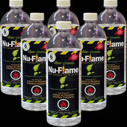 "Bluworld Innovations, LLC - Nu-Flame Bio-Ethanol Fireplace Fuel, 6-Pack - Due to our commitment to the safety of our customers we have upgraded our nu-flame liquid ethanol fuel. The safety-pour valve is a new protection feature in our upgraded liter containers. This 2-way check valve insert prevents the accidental ignition of fuel inside the bottle. Nu-flame liquid ethanol fuel is the greenest fuel you can buy! Nu-flame denatured bio-ethanol fuel is a safe, eco friendly fuel made from 100% waste right here in the usa. Nu-flame fuel is clean burning creating no soot, smoke or hazardous fumes. Safe for use indoors and out, nu-flame provides a beautiful vibrant color flame and long burn time. Larger 1 liter bottles sold in 6 packs or 12 packs. Our new bottles are fitted with a patent-pending safety-pour valve insert which prevents the accidental ignition of the fuel inside the bottle. Bottles made with 30-40% recycled material. Contains 6% more fuel than a quart bottle, that's 22 more ounces per 12 pack! Contains ""bitr"" to deter children and pets from ingesting. Made in the usa from 100% waste. Highly biodegradable, safe for the environment."