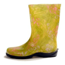 Sloggers Womens Green Tulip Rain & Garden Boot - The Sloggers Womens Green Tulip Rain & Garden Boot are an adorable way to keep your feet clean and dry. These smart and stylish boots are crafted from durable resin material and are designed to keep your feet dry and clean, even when you're working in the dirt. The fun floral design and lively green color will brighten your day.About SloggersLocated in Los Angeles, California, Sloggers has been developing high-quality garden clogs using a sophisticated injection molding system. A unique manufacturer system allows Sloggers to distribute top-quality products at highly competitive prices for customers the world over. Comfort and durability are the cornerstones of this 55-year old company that now produces a variety of lawn and garden care apparel all backed with distinguished customer service.