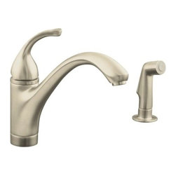KOHLER - KOHLER K-10416-BN 2-Hole Kitchen Sink Faucet - KOHLER K-10416-BN Forte 2-Hole Kitchen Sink Faucet with Sidespray in Vibrant Brushed Nickel