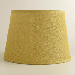 World Market - Green Burlap Table Lamp Shade - Soft light filters through our Green Burlap Table Lamp Shade, casting a blissful glow from any table or nightstand in the home. This eco-chic shade is crafted of 100% burlap, a wonderfully versatile material that offers a rustic look. Coordinate this stylish and affordable shade with any of our mix-and-match table lamp bases to create the perfect fit for your personal style.