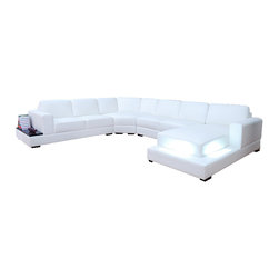 Scene Furniture - Everest Leather Sofa Sectional - This large white contemporary sectional is designed with very cool and unique features such as integrated lights and a built-in side table. The sofa is wrapped in soft genuine Italian leather and is available in 16 colors.
