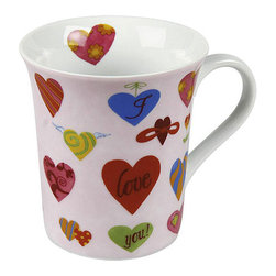 Konitz - Konitz I Love You Mugs (Set of 4) - At Konitz,everything revolves around mugs. These 'I love you' mugs come in a set of four and feature a colorful hearts on the exterior and interior of the mug.