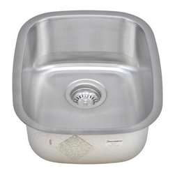 """Wells Sinkware - Wells Sinkware 1518 Bar Sink Pack - 18 gauge undermount, Scratch resistant matte finish, Mirror highlighted rim, Heavy duty sound absorbent coating & padding, Intelli-Pressed seamless one-piece construction, Drain openings: 3 1/2"""", Drain placement: Offset towards back, Mounting hardware included, Flush or 1/4"""" reveal 2-in-1 cutout template, Limited lifetime warranty, Complies with ASMEA 112.19.3-2008/CSA B45.4-08, Package includes: (1) Sink bottom protection grid: GWW1115 (1) Basket strainer: S8000"""