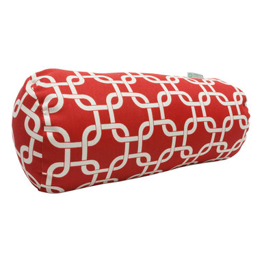 Majestic Home - Indoor Red Links Round Bolster - You may not need anything to bolster your ego, but how about your decor? A fresh and fabulous chain pattern on durable cotton twill makes a comfy and stylish addition to your favorite modern setting.