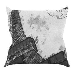 """Kess InHouse - Oriana Cordero """"Bonjour Mon Amour"""" Grey Eiffel Throw Pillow (16"""" x 16"""") - Rest among the art you love. Transform your hang out room into a hip gallery, that's also comfortable. With this pillow you can create an environment that reflects your unique style. It's amazing what a throw pillow can do to complete a room. (Kess InHouse is not responsible for pillow fighting that may occur as the result of creative stimulation)."""