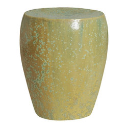 Kathy Kuo Home - Light Sage Green Frost Coastal Beach Simple Ceramic Garden Seat Stool - Traditionally used in China as tea tables-these garden stools make a perfect addition to your living space as side tables, or clustered together to be used as a coffee table. Glazes are triple fired for added luster and shine. With a hand made product, glaze variations of up to 10% is to be expected.