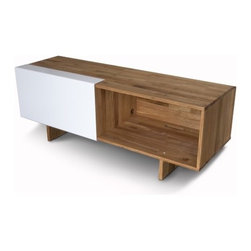 "Mash Studios - LAX Series 58"" TV Stand - The LAX Series by MASH Studios combines sleek, minimal elegance with practical space-saving solutions built into the designs. The pieces feature simple lines and a clean palette of a light walnut finish and white shelf doors, helping you create a contemporary environment that is clean and free of clutter. The LAX Series Entertainment Shelf is an excellent way to both display and organize computers, home electronics, DVDs, music, books and more. The shelf features an aluminum door which slides out to reveal a concealed storage space within. Features: -LAX Series collection. -Case made of English Walnut with a natural oil finish. -One door made of 1/8""-thick white powder-coated aluminum. -2 shelves. -No visible hardware. -Doors slide freely on grooved track. -All hardware included. Quality: -MASH Studios designs products for durability and multiple life cycles. The materials used are able to accommodate long-term use and the aesthetic is able to remain fresh amidst changing trends, meaning items will never look dated.. -MASH Studios has a proven record of client satisfaction. Over 90% of their business comes from repeat customers, nearly all from referrals.. Order with Confidence:  -Should you discover shortly after receiving your LAX Series Entertainment Shelf that parts are either damaged or missing, please call us immediately, and we will be happy to send you replacement parts as soon as possible and at no additional cost.."