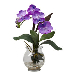 Nearly Natural - Mini Vanda w/Fluted Vase Silk Flower Arrangement - A delightful mixture of shapes, colors, and textures awaits you with this gorgeous Mini Vanda. Delicate green leaves curve upward, forming a base from which the soft blooms emerge. The result is a piece that looks like you paid a treasure hunter to find. A beautiful fluted bowl w/ faux water completes the picture. Makes a classy gift as well.