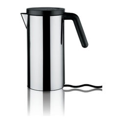 """Alessi - Electric Water Kettle - After the success of the electric Kettle """"hot.it"""" (2009), designed by Wiel Arets, by popular demand, here are a smaller-size version. Features: -Material: 18/10 Stainless steel. -Handle and lid in thermoplastic resin. -Capacity: 47 ounces. -Dimensions: 10.83"""" H x 9.84"""" W x 5.12"""" D."""