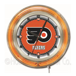 Holland Bar Stool - Holland Bar Stool Clk19PhiFly Philadelphia Flyers 19 Inch Neon Clock - Clk19PhiFly Philadelphia Flyers 19 Inch Neon Clock belongs to NHL Collection by Holland Bar Stool Our neon-accented Logo Clocks are the perfect way to show your team pride. Chrome casing and a team specific neon ring accent a custom printed clock face, lit up by an brilliant white, inner neon ring. Neon ring is easily turned on and off with a pull chain on the bottom of the clock, saving you the hassle of plugging it in and unplugging it. Accurate quartz movement is powered by a single, AA battery (not included). Whether purchasing as a gift for a recent grad, sports superfan, or for yourself, you can take satisfaction knowing you're buying a clock that is proudly made by the Holland Bar Stool Company, Holland, MI. Clock (1)