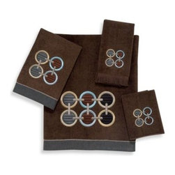 Avanti - Avanti Axis Mocha Bath Towel - The Axis Mocha Towel Collection brings chic, contemporary style to your bathroom. The rich velour mocha Bath Towel features a circle embroidery design done in lovely neutral shades. Finished with a coordinating trim along the bottom.