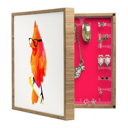DENY Designs - Robert Farkas Punk Bird BlingBox Petite - Handcrafted from 100% sustainable, eco-friendly flat grain Amber Bamboo, DENY Designs BlingBox Petite measures approximately 15 x 15 x 3 and has an exterior matte cover showcasing the artwork of your choice, with a coordinating matte color on the interior. Additionally, the BlingBox Petite includes interior built-in clear, acrylic hooks that hold over 120 pieces of jewelry! Doubling as both art and an organized hanging jewelry box, It's bound to be the most functional (and most talked about) piece of wall art in your home! Custom made in the USA for every order.