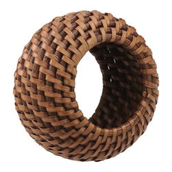 Kouboo - Rattan Napkin Ring Set of 4 with Tray, Honey Brown - Bring nature to the table with these beautiful rattan napkin rings. The honey-brown, hand-woven napkin rings are warm, versatile additions to any table. Keep your tables cape beachy-casual by pairing them with our other rattan woven serving accessories, or add a touch of natural elegance with by mixing in pewter or teak serving dishes. In either case, your attention to detail won't go unnoticed.