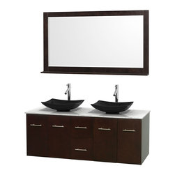 "Wyndham Collection - Centra 60"" Espresso Double Vanity, White Carrera Marble Top, Black Granite Sinks - Simplicity and elegance combine in the perfect lines of the Centra vanity by the Wyndham Collection. If cutting-edge contemporary design is your style then the Centra vanity is for you - modern, chic and built to last a lifetime. Available with green glass, pure white man-made stone, ivory marble or white carrera marble counters, with stunning vessel or undermount sink(s) and matching mirror(s). Featuring soft close door hinges, drawer glides, and meticulously finished with brushed chrome hardware. The attention to detail on this beautiful vanity is second to none."