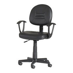 Chintaly Imports - Black Swivel Pneumatic Gas Lift Office Chair - Pneumatic gas lift adjustable height swivel computer chair. Seat and back are upholstered in black PVC. Tailored and contoured seat and back. 5 Star caster base allow the chair to move with ease.
