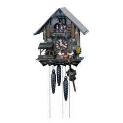 Schneider Cuckoo Clocks - 1-Day 10.6 in. Chalet Black Forest House Cuckoo Clock - Two melodies. Hand-painted couples turn whereas. Two hand-carved beer drinkers and water wheel. 1-day rack strike movement. Cuckoo calls and strikes every half and full hour. Wooden cuckoo, dial with roman numerals and hands. Music on the half and full hour and 4 dancing figurines or couples. Pressed resin hand painted dancing couples. Shut-off lever on left side of case silences strike, call and music. Made from wood. Hand painted flowers finish. Made in Germany. 10.6 in. W x 7.1 in. D x 11.8 in. H (7.5 lbs.). Care Instructions