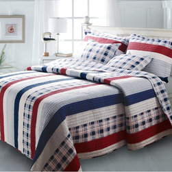 Greenland Home Fashions - Greenland Home Fashions Nautical Stripe Quilt Set - GL-1204LMST - Shop for Bedding Sets from Hayneedle.com! Land-lubber seems like it would be a less-than-flattering term but if dry land is where land-lubbers find the Greenland Home Fashions Nautical Stripe Quilt Set it can't be all that bad. This appealing set features a comforter a sham or two (depending on the size) and a pair of coordinating throw pillows. Each quilt is made using high-quality cotton that's been pre-washed and pre-shrunk crafted with an oversized design that's perfect for today's deeper mattresses. The comforter also boasts channel stitching and a mix of solids stripes and plaids to show off the rich colors. The reverse side offers an all-over plaid to give you two different looks for the price of one. Matching shams complete the look of this patriotic and fashionable set offered in several sizes.Product Dimensions:Twin comforter: 88L x 68W in. Full/queen comforter: 90L x 90W in.King comforter: 95L x 105W in.Small sham: 20L x 26W in.Large sham: 20L x 36W in.About Greenland Home FashionsFor the past 16 years Greenland Home Fashions has been perfecting its own approach to textile fashions. Through constant developments and updates - in traditional country and more modern styles the company has become a leading supplier and designer of decorative bedding to retailers nationwide. If you're looking for high-quality bedding that not only looks great but is crafted to last consider Greenland.