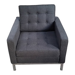 Hampton Modern - Florence Knoll Style Arm Chair in Wool, Dark Gray - Classic straight lines define this clean, sleek arm chair upholstered in rich woolen mix.