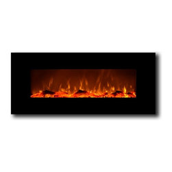 "Moda Flame - Houston 50 Inch Electric Wall Mounted Fireplace Black - The Houston is a astonishing 50"" wide electric fireplace with suburb vivid flames and modern black frame that will create a statement in any room of your home or office. The Houston wall mounted electric fireplace delivers ambiance of a fireplace without the fire and fumes. You can enjoy three heat settings of high, low and no heat. The Houston with a heat setting, has the ability of providing heat for a room up to 400 sq. ft. Also, the fireplace's flame can can be used without the heating feature."